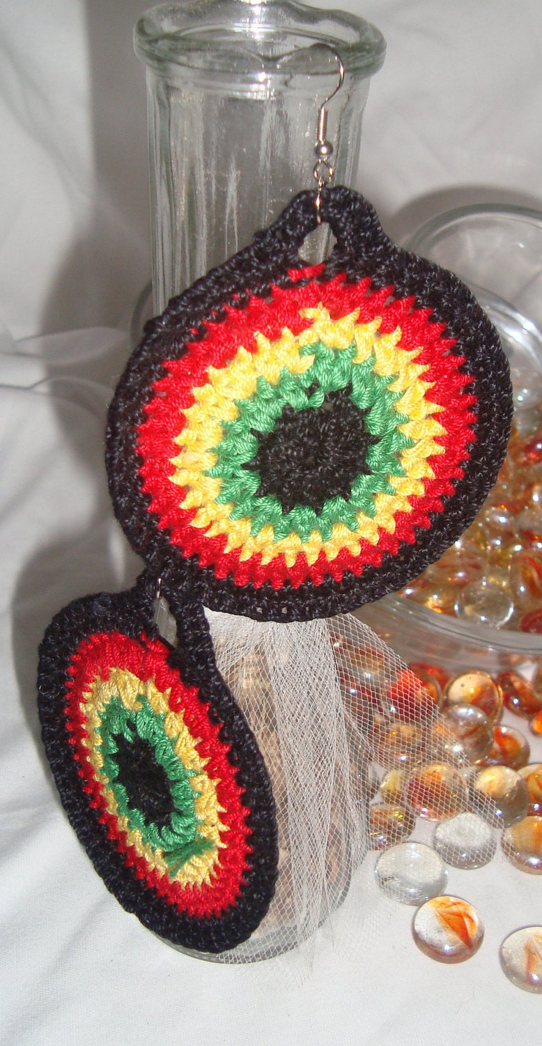 Bob Marley Inspired-Crochet Hoop Earrings-3 different pairs at 12.00 each