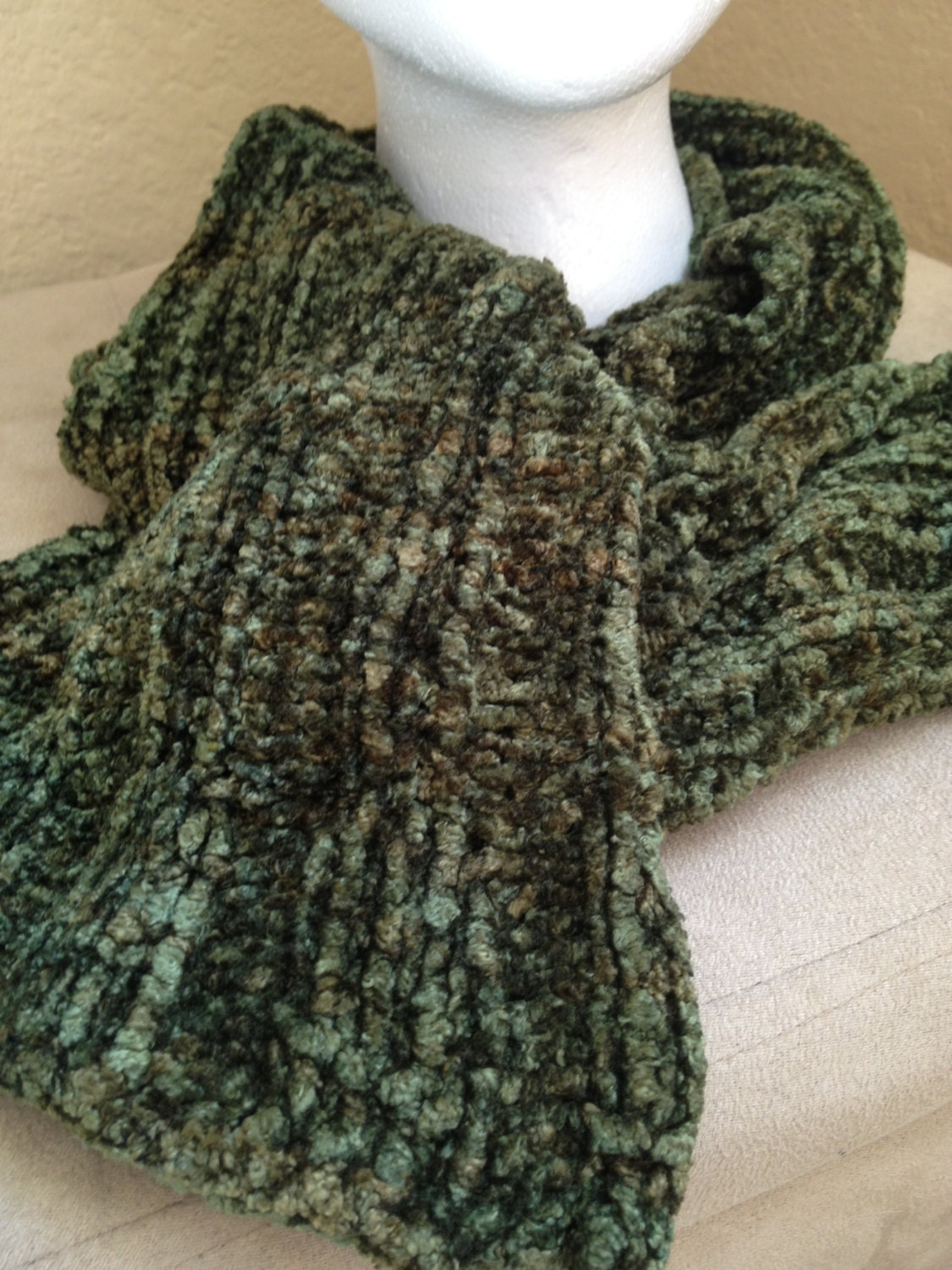 Items similar to Soft Hand Knit Flare Chenille Scarf on Etsy