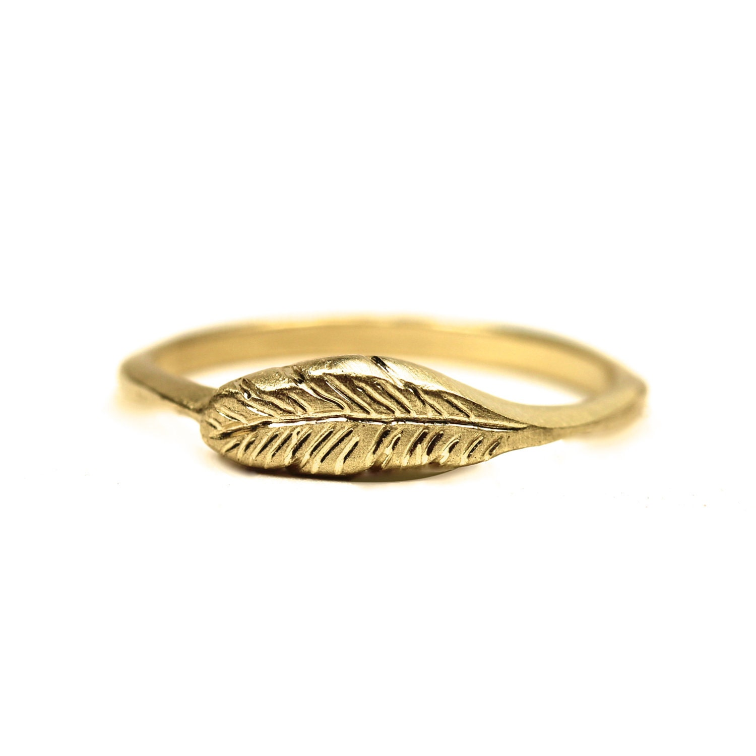 Organic 14K Yellow Gold Feather Ring - Feather's Gold - NangijalaJewelry