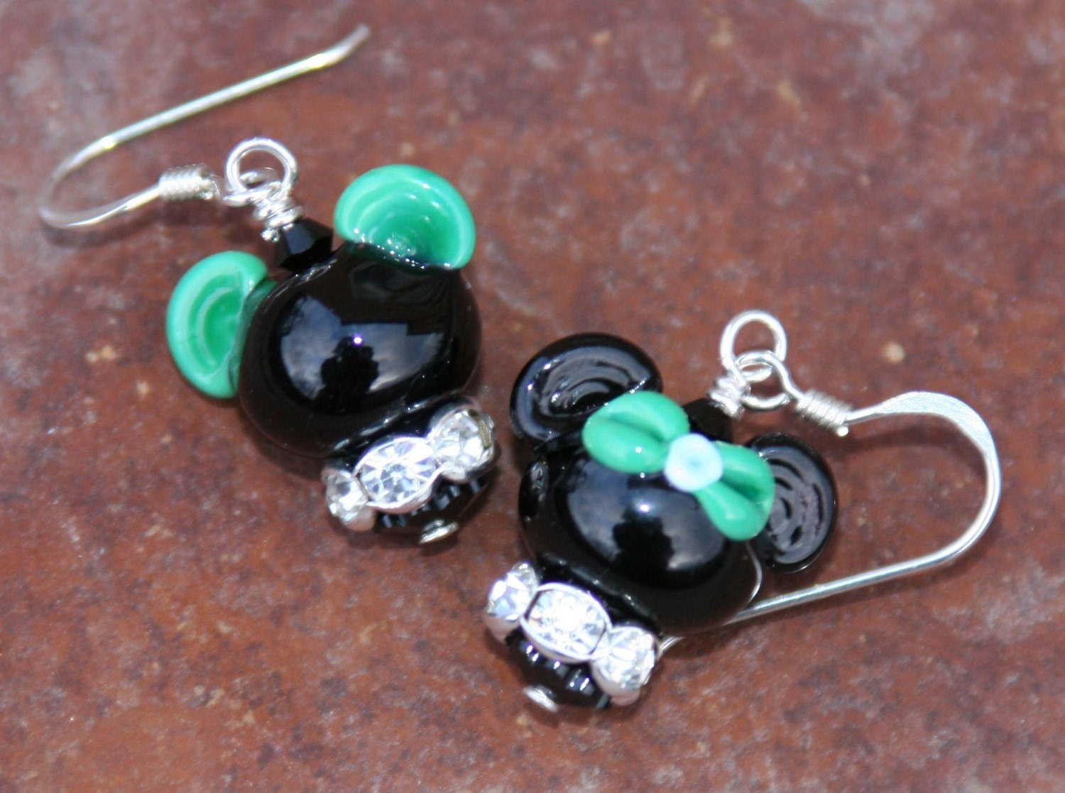 Lucky Green St Patricks Day One Mickey and One Minnie Mouse DeSIGNeR EaRRiNgs makes this a match made in Magical Heaven