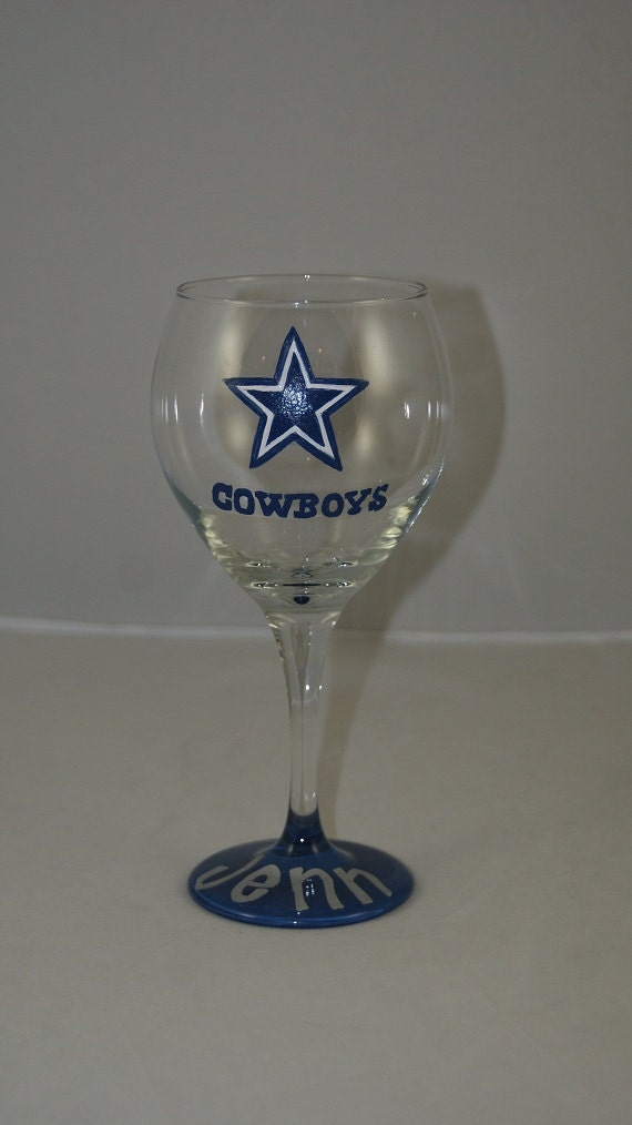 Dallas Cowboys Eyeglass Frames : Dallas Cowboys Wine Glass Hand Painted by 1stStateSassyGlass