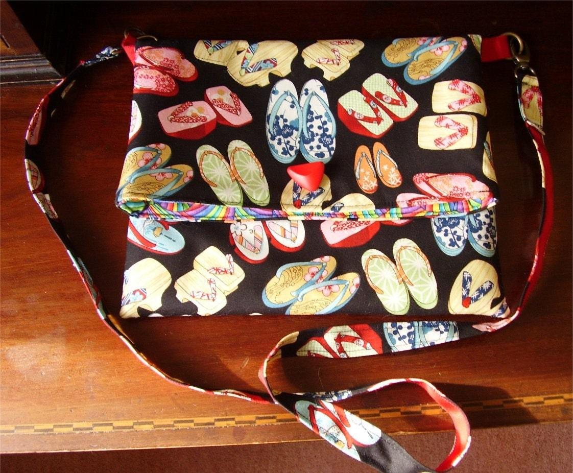 japanese fabric thongs slouch shoulder handbag