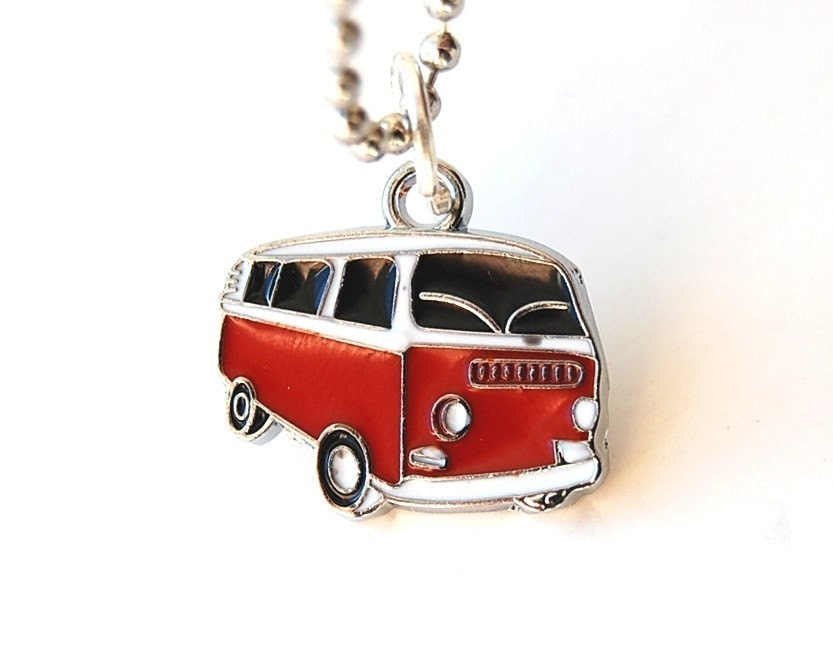 Red Van Pendant Necklace in free capsule. 80s Geek, Retro, Fun, Him, Her, Nerd, Dork, Cool