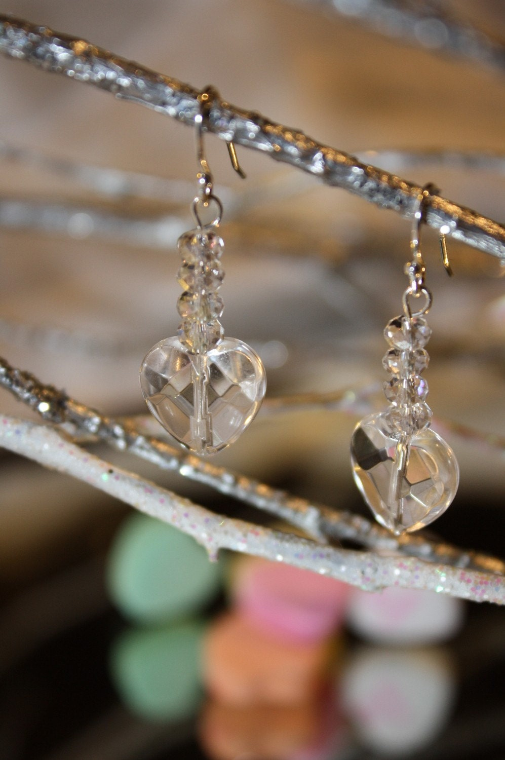 Valentine's Day Love from the Heart Crystal and Sterling Silver Earrings