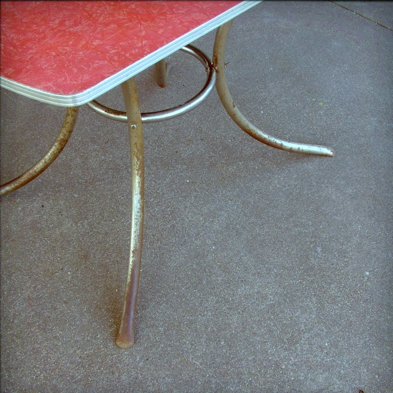 Vintage red formica table cracked ice design by oldcottonwood - Retro formica table ...