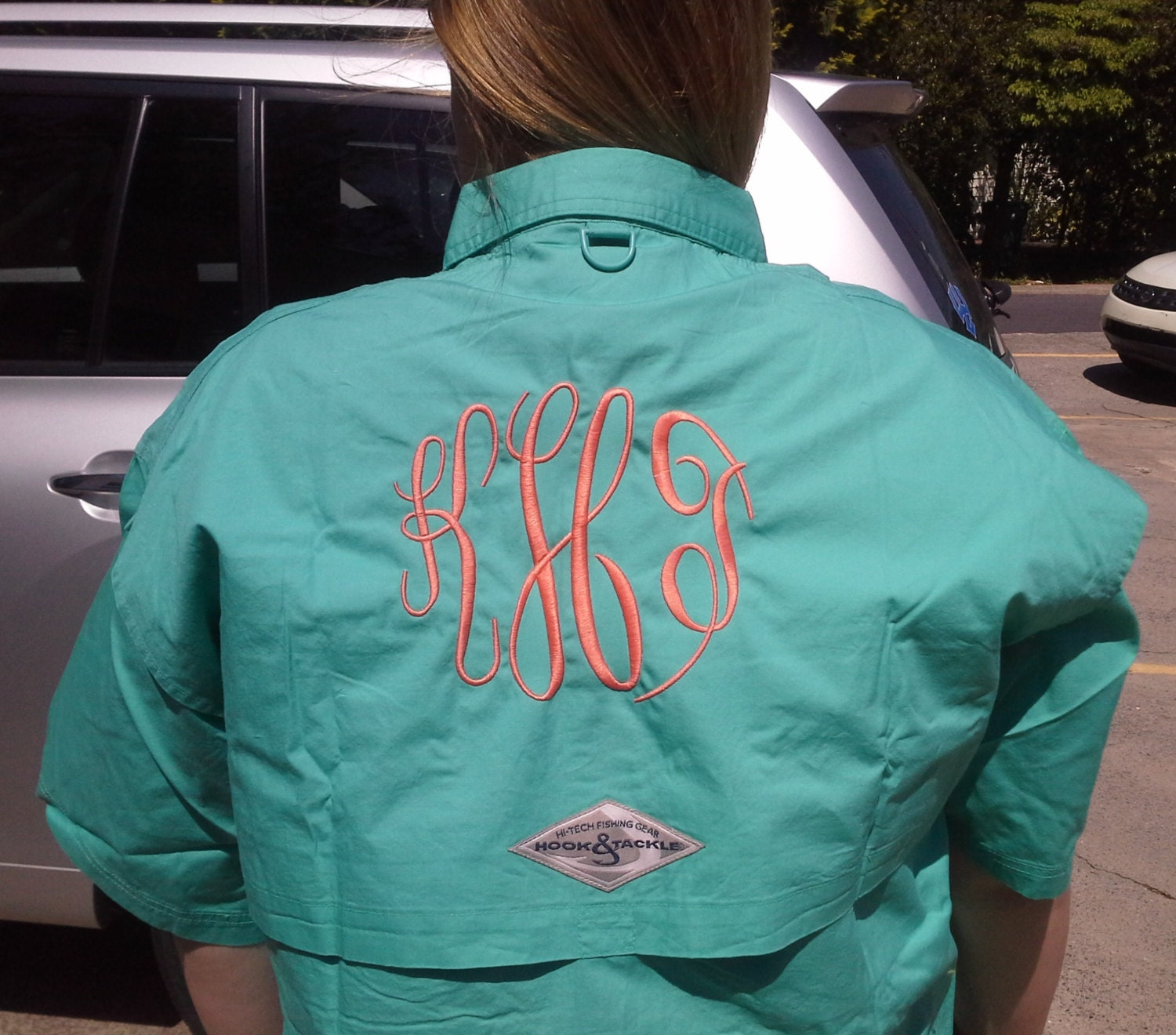 Personalized monogrammed embroidered hook by for Embroidered fishing shirts