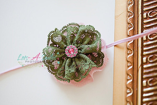 pink and forest green dual layer lace flower headband for children, newborn, adults - great photography prop