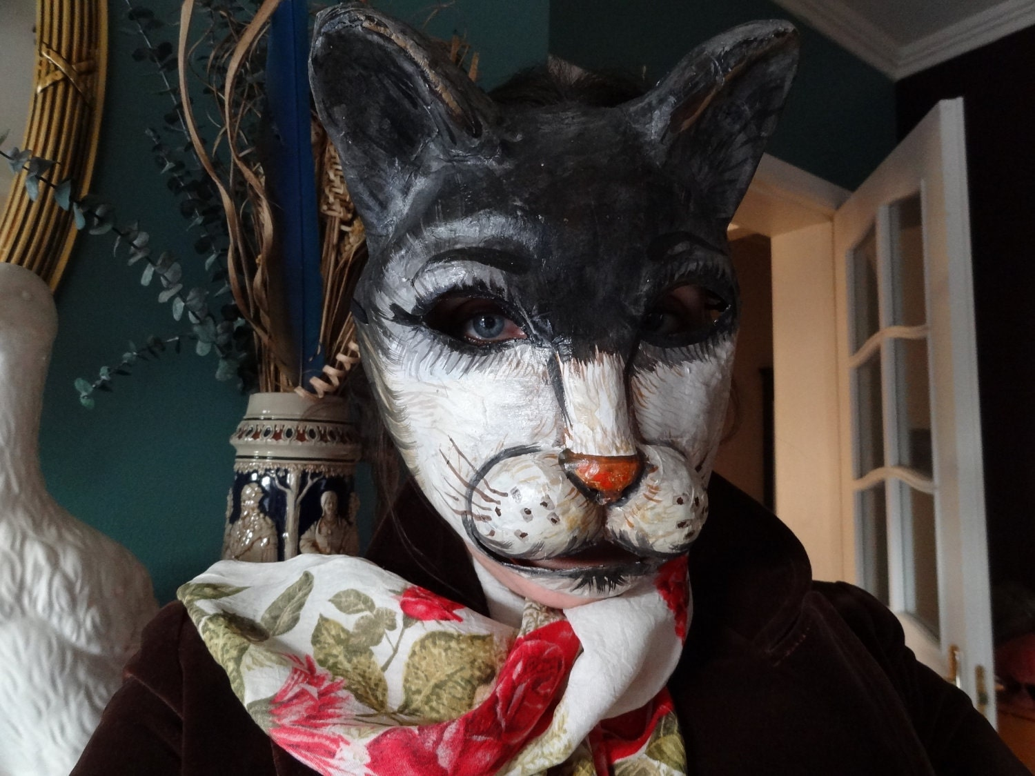 Halloween mask paper mache cat mask animal mask by for Paper mache mash