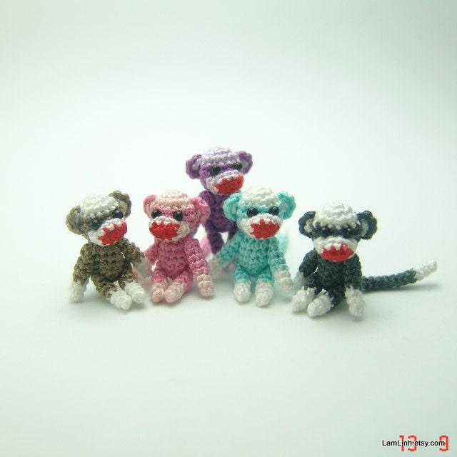 Amigurumi Crochet Sock Monkey : 1 inch miniature colorful sock monkey Tiny amigurumi by ...