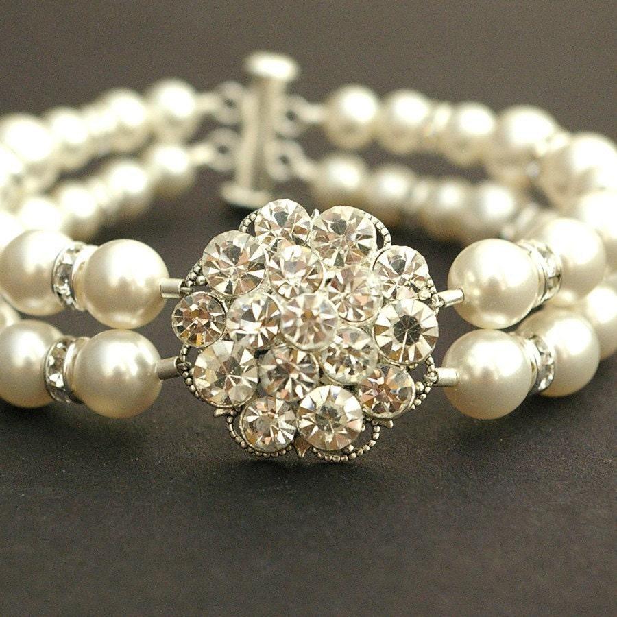 Elizabeth, Swarovski Pearl and Rhinestone Bracelet