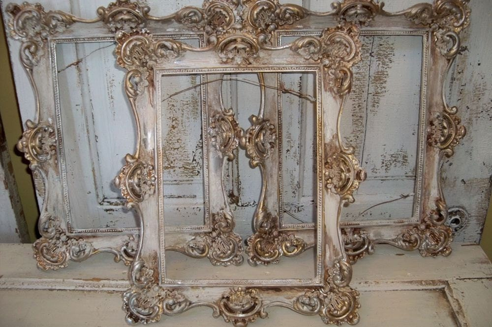 Picture frame grouping white distressed French provincial frames ...