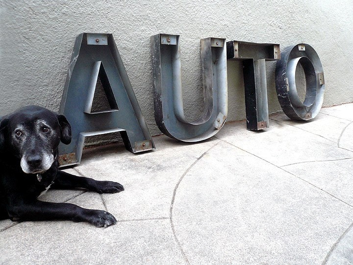Industrial Salvaged AUTO  Metal Sign