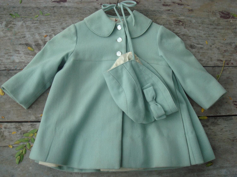 Vintage Baby Toddler Girls Sea Foam Green Wool Coat By