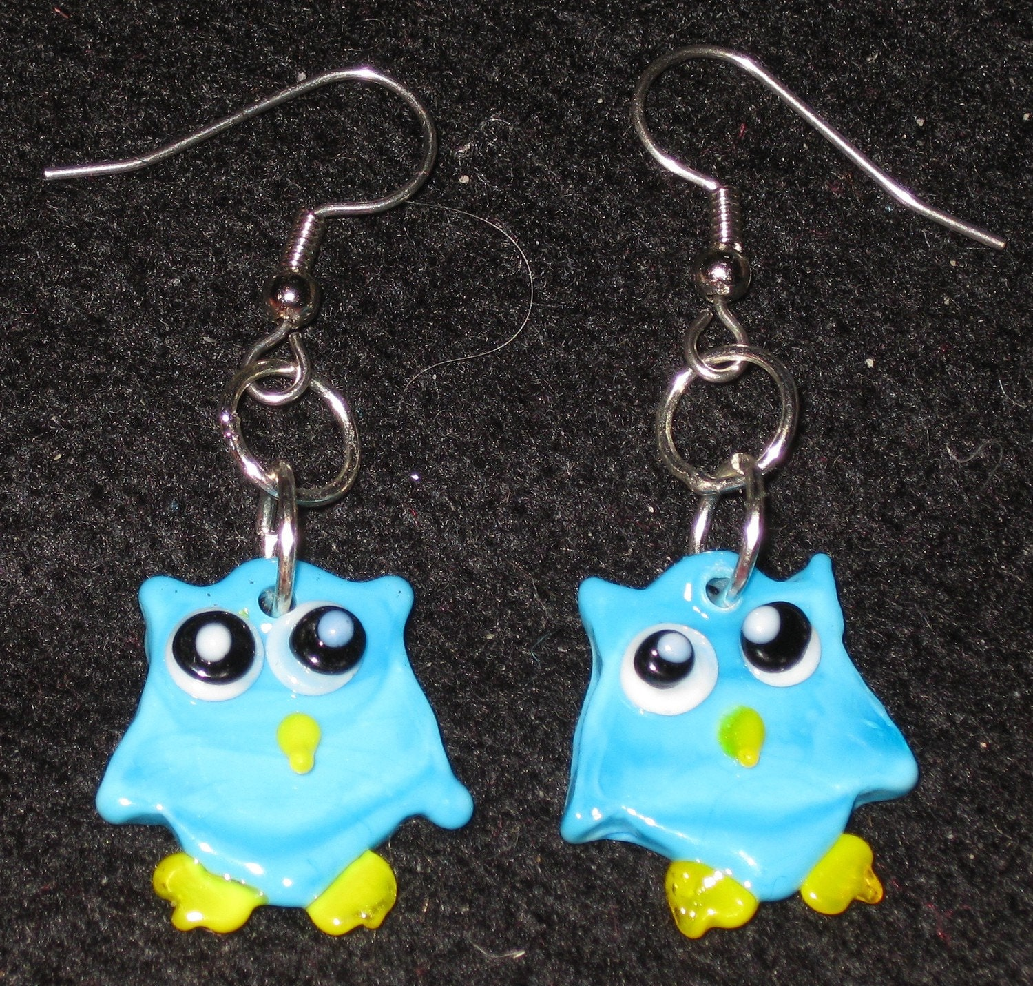 from our gift cottage blue owl earrings miss print