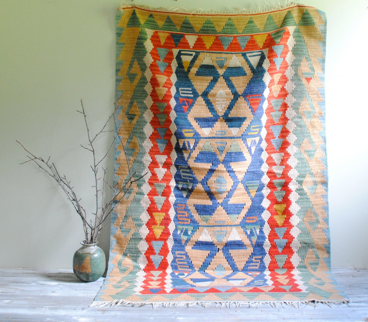 Vintage Turkish Flat Weave Rug: Vintage Turkish Kilim Flat Weave Rug By LittleDogVintage