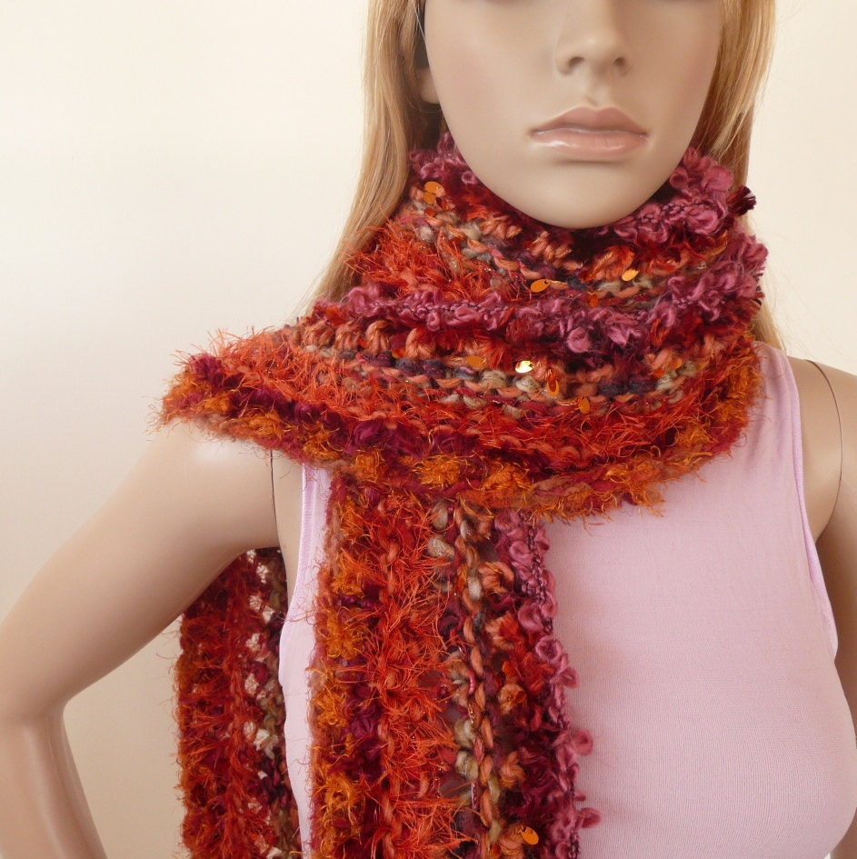 Hand knitted scarf - one of a kind - 10 beautiful yarns in  orange, tangerine, emberglow and more- unique multicolor scarf winter fashion
