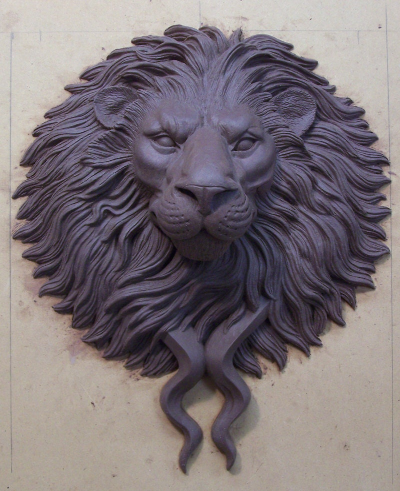 Large bronze lion head door knocker pull by karldeensanders - Large lion head door knocker ...