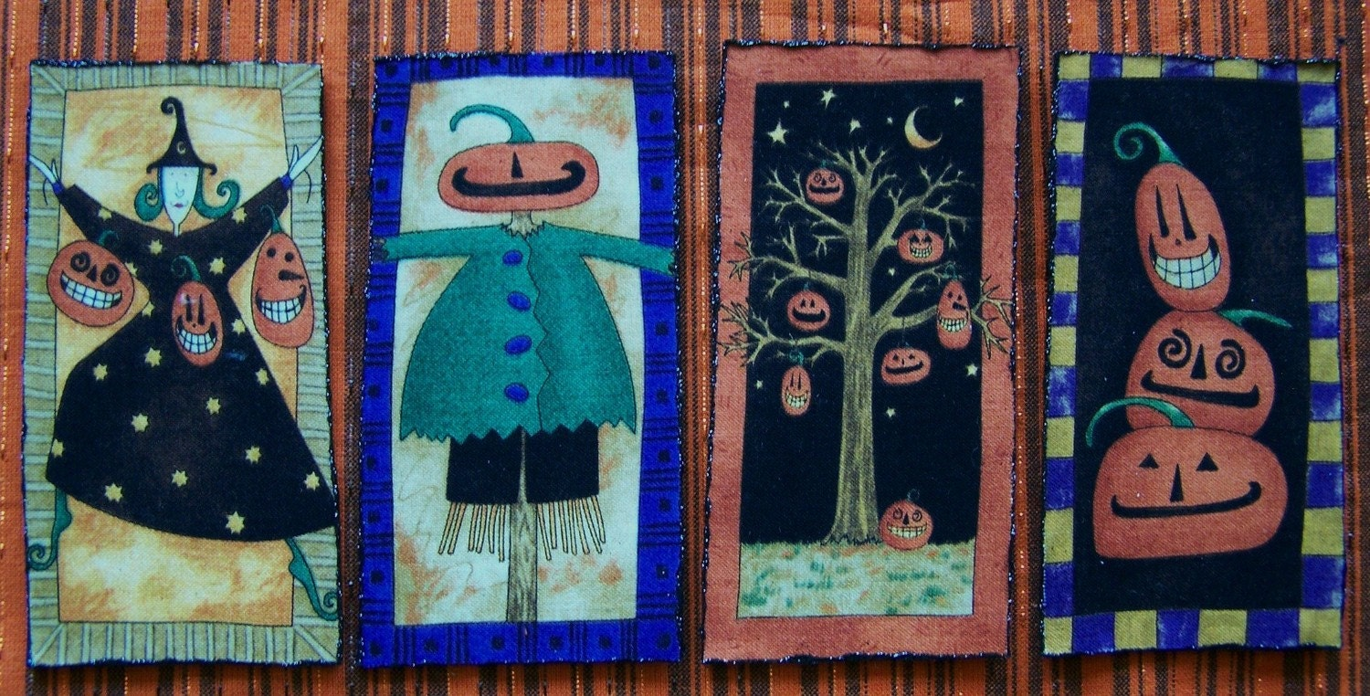 Set of 4 Primitive Halloween Refrigerator Magnets