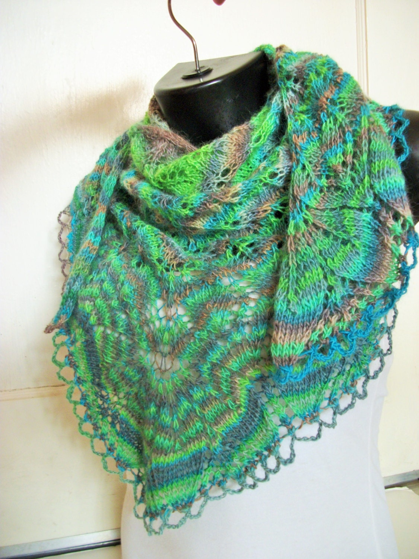 Urban Chic Leafy Shawl/Scarf in Green, Blue, Brown and Grey - TerahClassyCreations