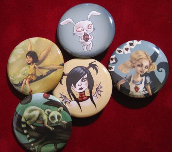 Five Cute Fantasy Art Pins