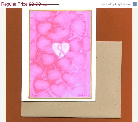 On Sale Surrounded by Love Breast Cancer Awareness Pink Ribbon Note Card