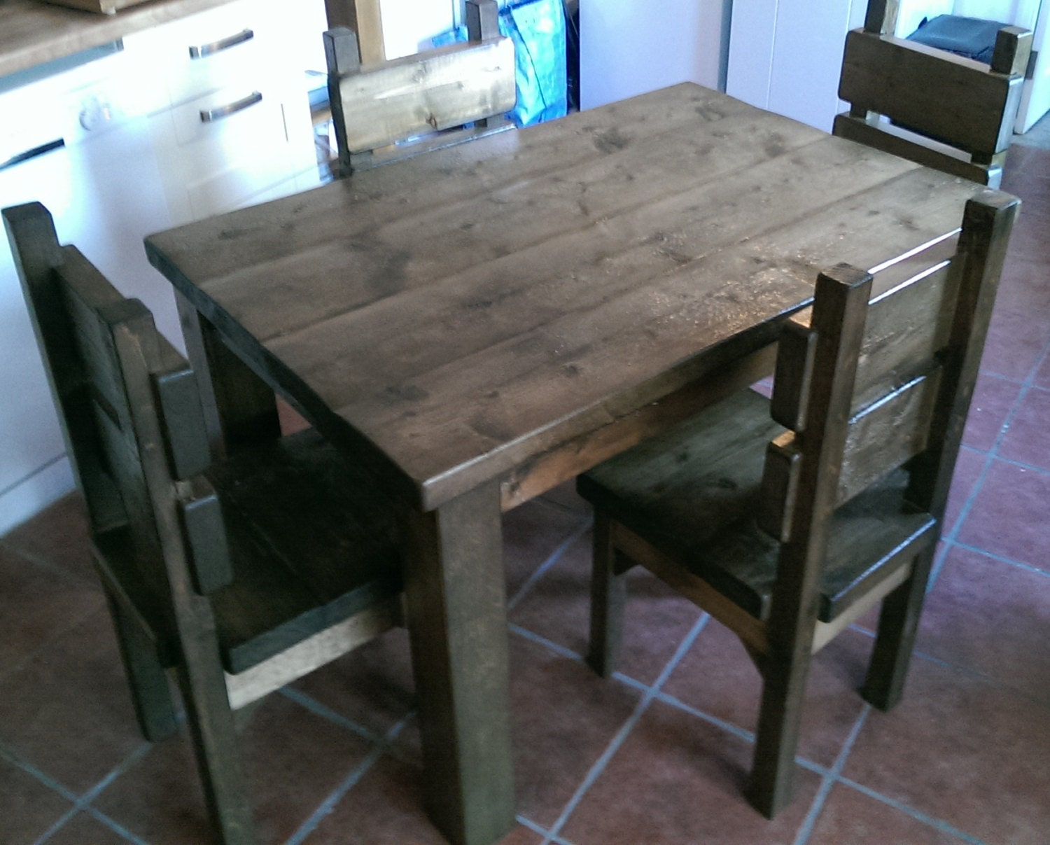 New Hand Made Rustic Plank Kitchen Table and Four Chairs 055