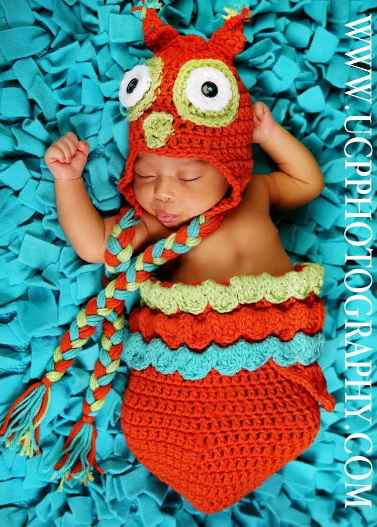 Newborn Orange Unisex Owl Hat and Cocoon Pod Set with Turquoise and Green Trim