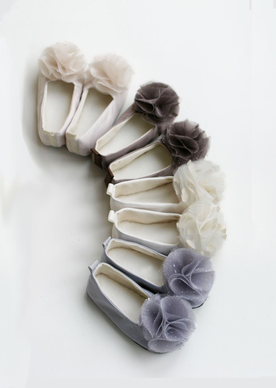 Satin Flower Girl Shoes - Baby Toddler sizes - Neutral Colors - Couture Ballet Slipper - Satin and Tulle - Baby Souls Baby Shoes