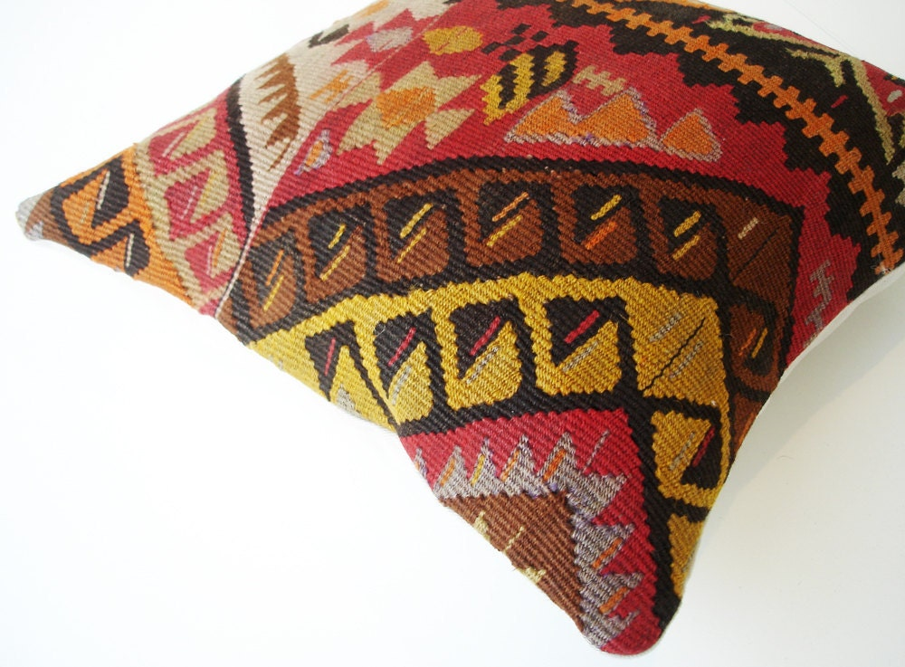 Sukan / SOFT Hand Woven - Turkish Anadolu Kilim Pillow Cover - 16x16