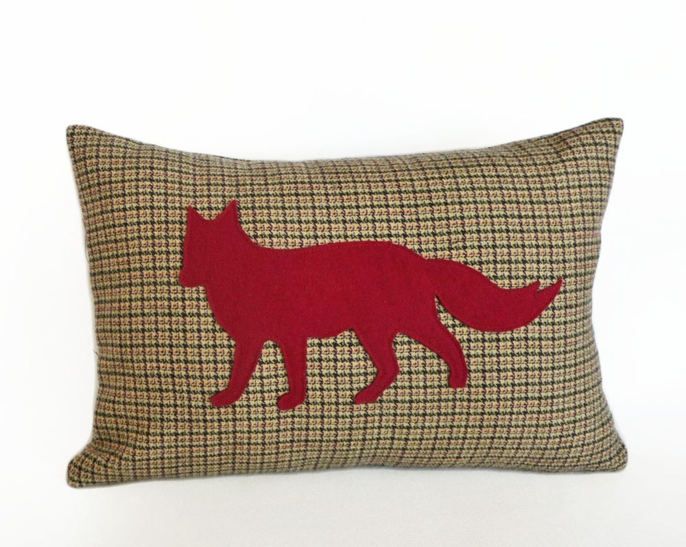 Red Tan And Brown Throw Pillows : Red Fox Pillow Tan Brown Plaid Throw Pillows by PillowThrowDecor