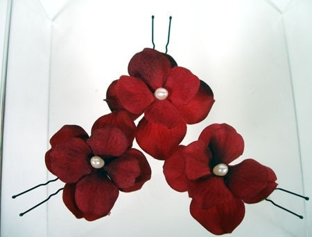 RED VELVET Set of Three Hair Pins with Soft Silk Flowers and Ivory Freshwater Pearls   FREE SHIPPING