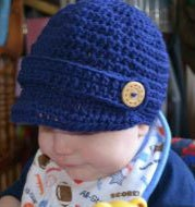 Colonial Blue Newsboy Toddler Cap with wooden buttons on sides-Boy Photography Prop Beanie