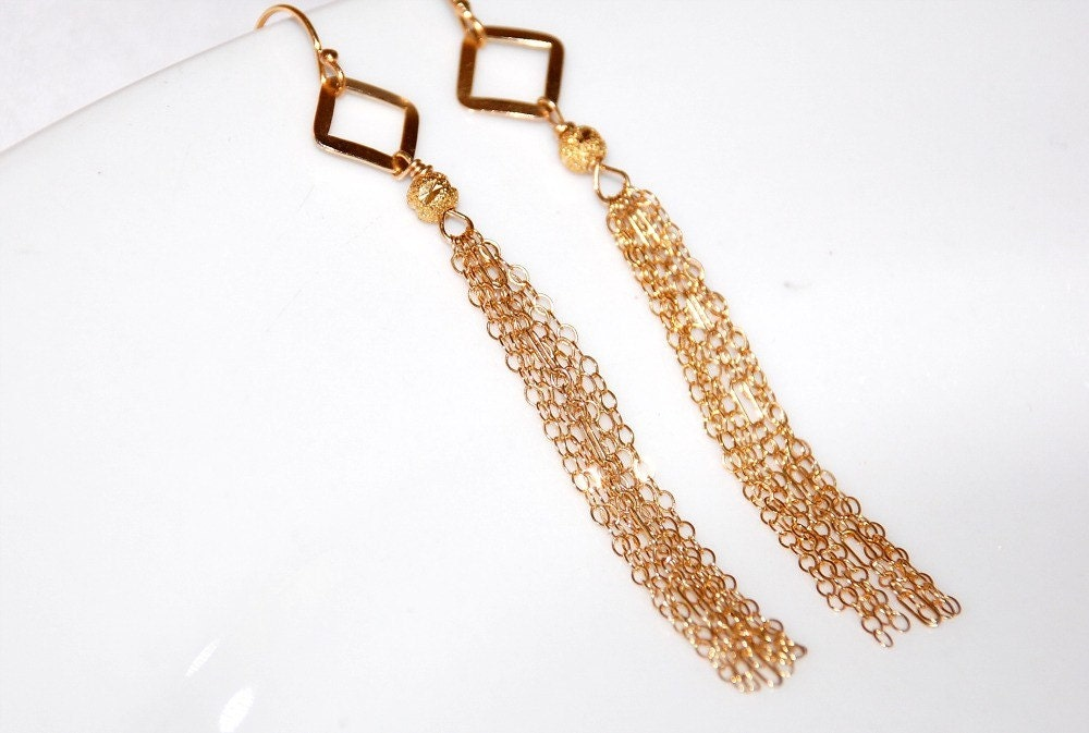 14K Gold Filled Multi Chain Tassle Earrings by by ELEVEN13 on Etsy from etsy.com