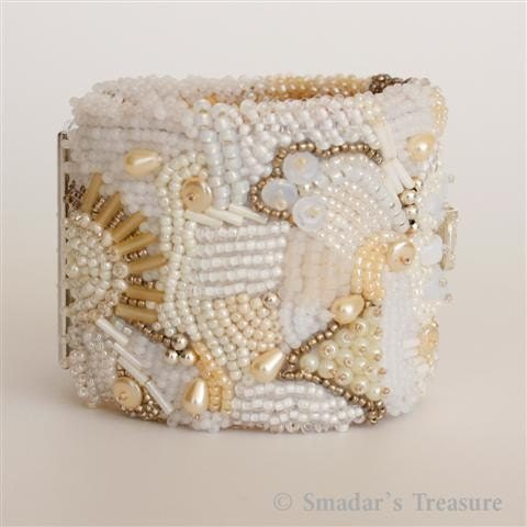 Sunrise - Embroidered Cuff Bracelet in Shades of Gold and Cream