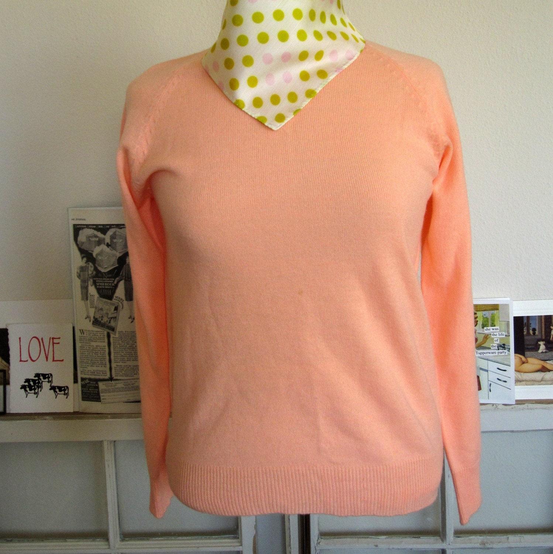 1950s/1960s Peach Sherbert Sweater - Small, Medium