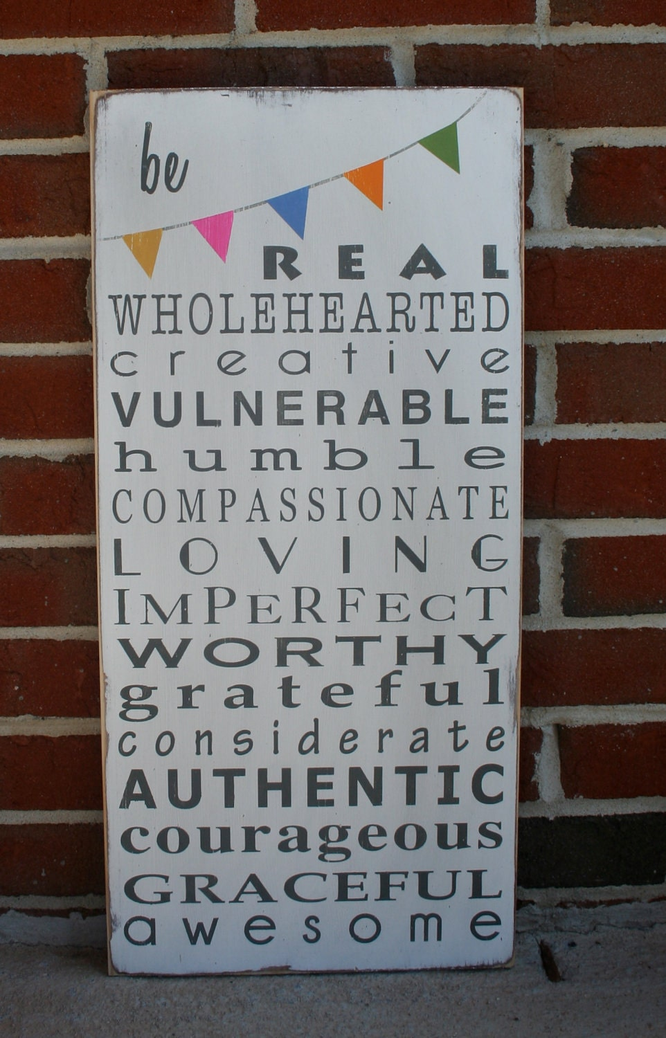 Be Wholehearted with Bunting Typography Word Art Sign - Motivational
