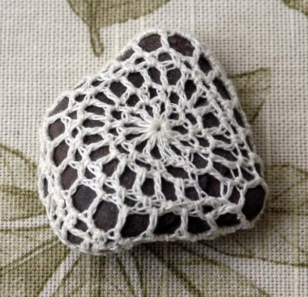 Crochet Lace Rock, Crocheted Stone Art, One of a Kind