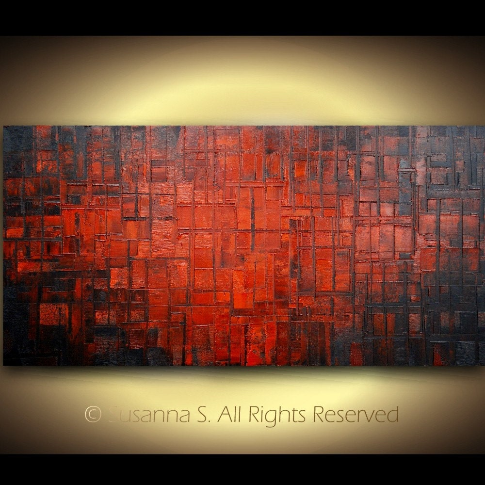 ORIGINAL Large Red Abstract Art Modern Palette Knife Oil Textured Painting by Susanna 48x24