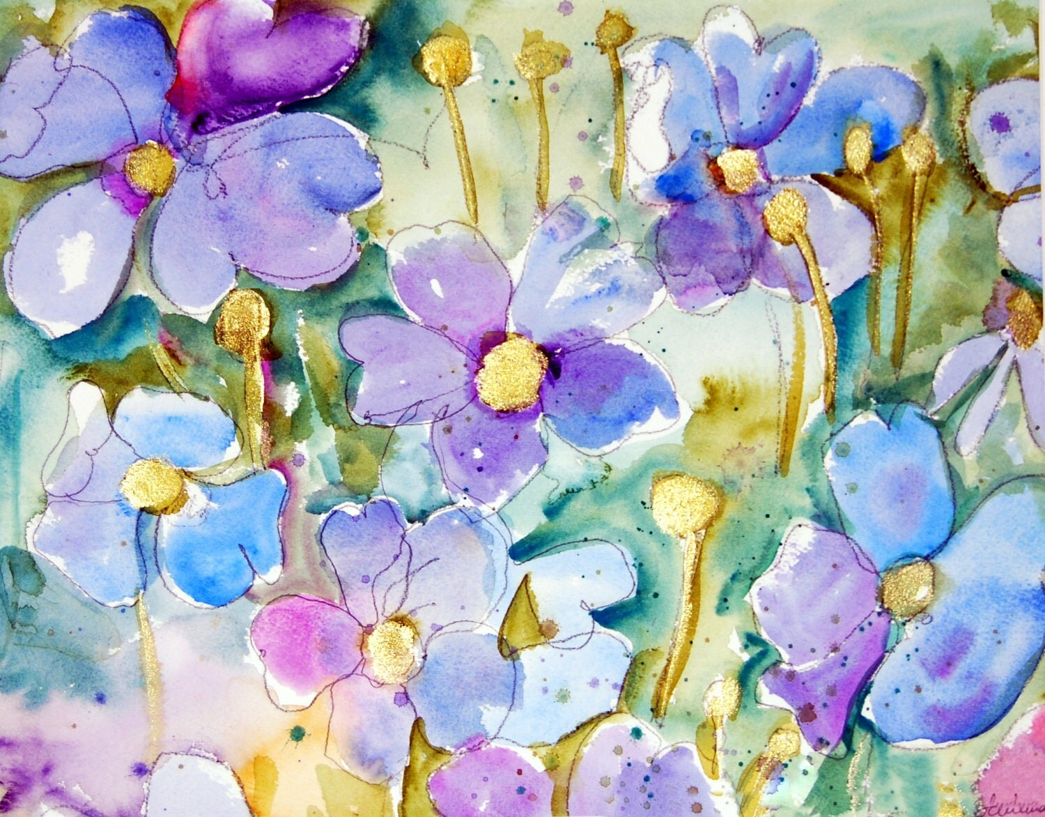 "Floral Painting 16x20"" with FREE mat, phlox purple Flowers, gold shimmer, deep teal"