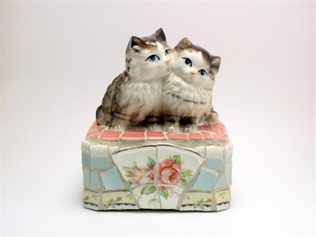 sweet kittens mosaic doorstop, paperweight, bookend