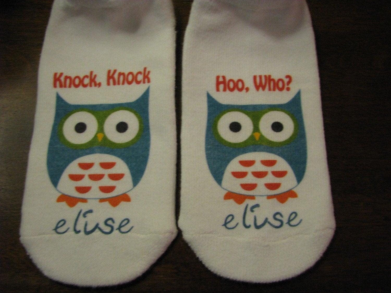 Custom Listing Knock Knock Owl Socks