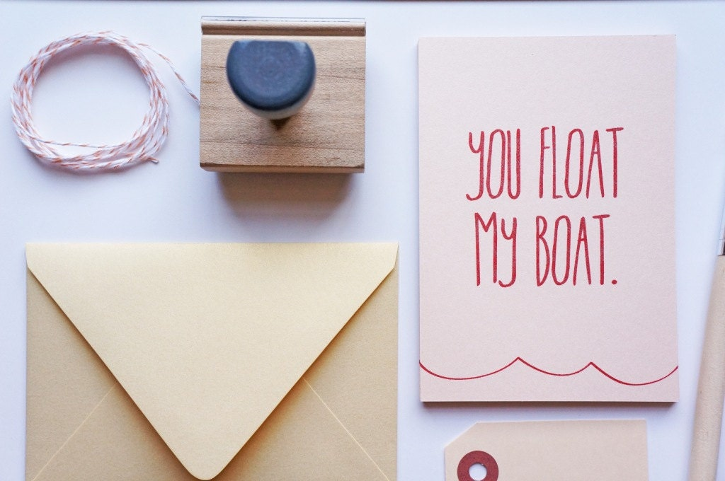 You Float My Boat Valentine's Card, Valentine - dodelinedesign