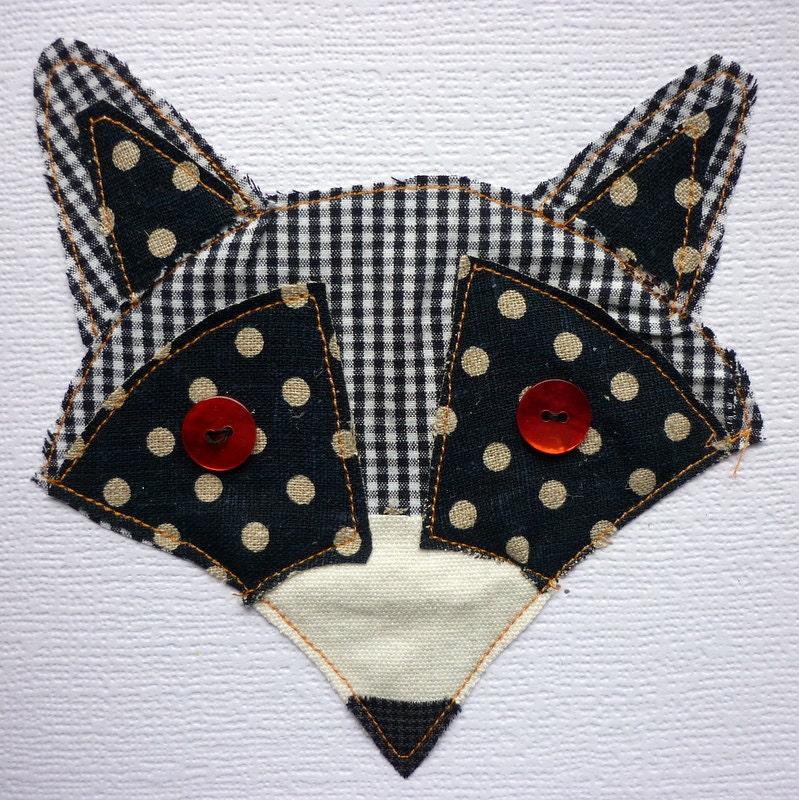 Handmade stitched raccoon card