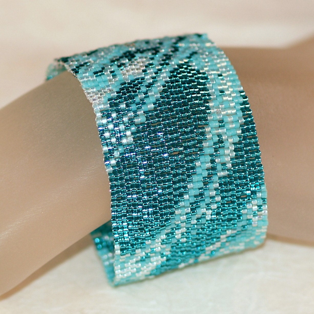 Seafoam Fabric - Shades of Aqua and Turquoise in a Peyote Bracelet / Cuff (3207)