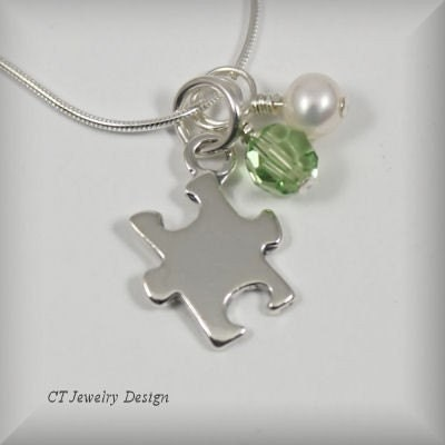 DESIGN IT YOUR WAY with FREE SHIPPING on Sterling Silver 22 Gauge Thick Autism Awareness Puzzle Pendant Necklace with Freshwater Pearl and Swarovski Birthstone Crystal Accent