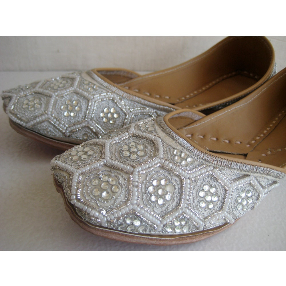 Silver Flats For Wedding: Silver Sequin Bridal Ballet Flats/Wedding Shoes/Pearl By