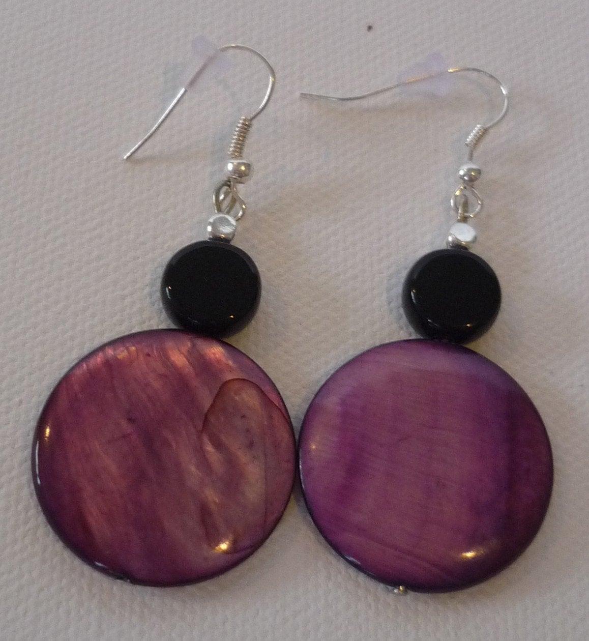 Bold 6 Round Lentil Amethyst Shell Beaded Earrings
