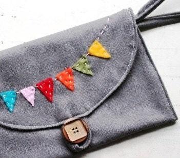 100% Grey Wool Happy Banner Clutch