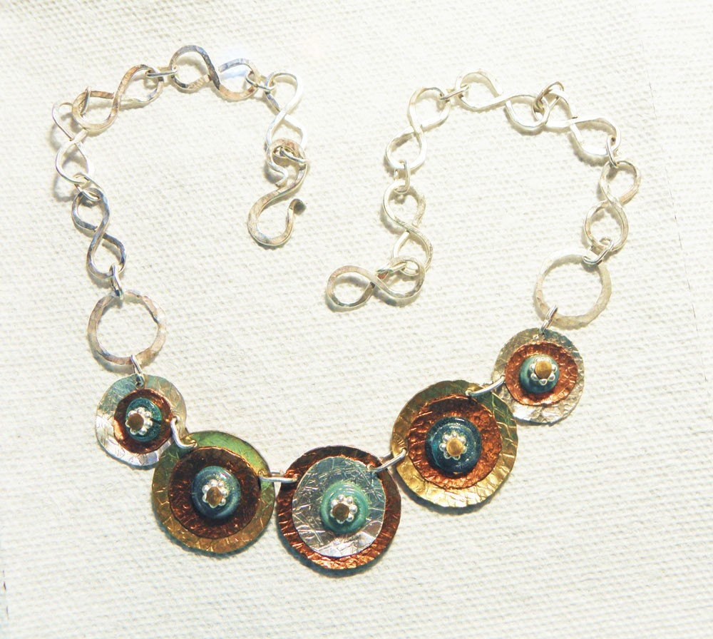 CUSTOM MADE OOAK Mixed Metals and Lampwork Disk Necklace