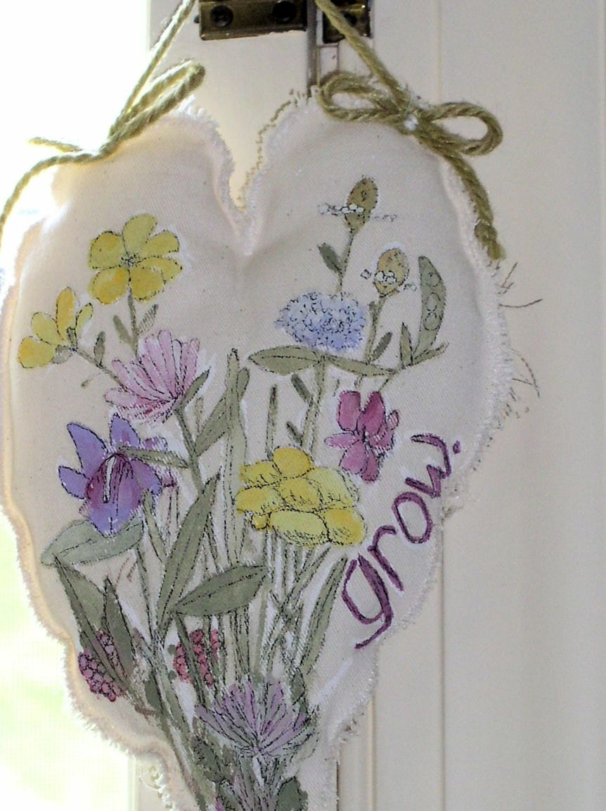 Fairy Wish Hand Painted Cottage Heart Pillow